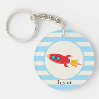 Red Rocket Space Ship; Light Blue Stripes Acrylic Key Chain