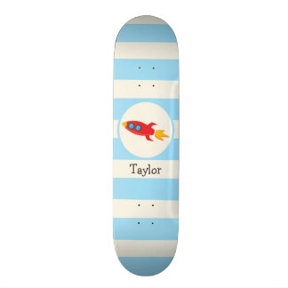 Red Rocket Space Ship; Light Blue Stripes Skate Board
