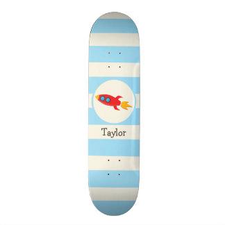 Red Rocket Space Ship; Light Blue Stripes Skateboard Decks