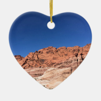 Red rocks and blue skies ceramic heart ornament