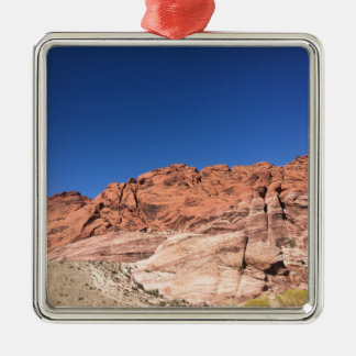 Red rocks and blue skies Silver-Colored square ornament
