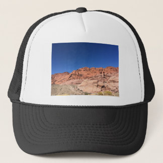 Red rocks and blue skies trucker hat