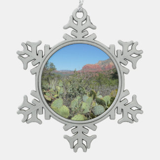 Red Rocks and Cacti I Snowflake Pewter Christmas Ornament
