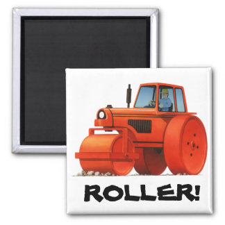 Red Roller Square Magnet