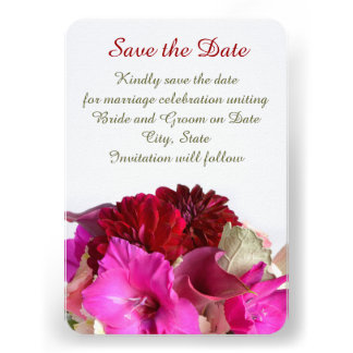 Red Romantic Bouquet Save the date Personalized Announcement
