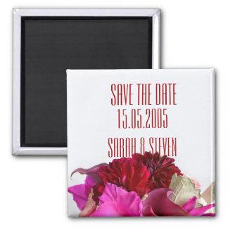 Red Romantic Bouquet Save the date Fridge Magnet