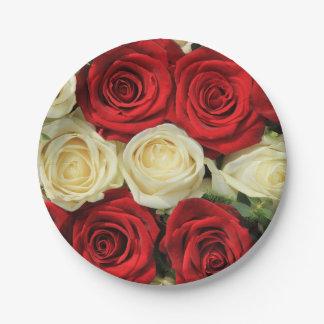 Red romantic valentine rose paper plate