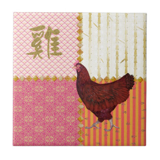 Red Rooster, Bamboo, Chicken Scratch, Ornamental, Ceramic Tile