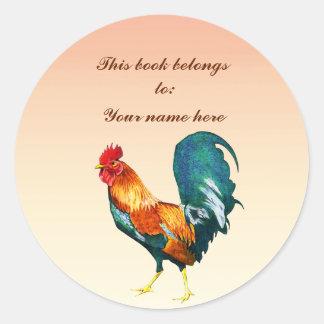 Red Rooster Bird Animal Bookplate Classic Round Sticker