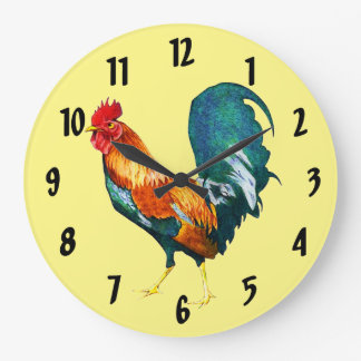 Red Rooster Bird Animal Clock