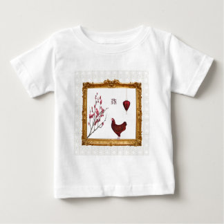 Red Rooster, Lantern and Plum Tree in Gold Frame, Baby T-Shirt