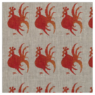 RED ROOSTER NATURAL LINEN FABRIC yardage