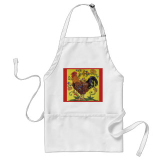 Red Rooster Yellow Chicken Folk Art Apron Floral