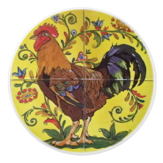Red Rooster Yellow Chicken Folk Art Drawer Pull