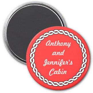 Red Rope Border Stateroom Door Marker red 3 Inch Round Magnet