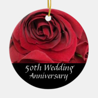 Red Rose 50th Anniversary Tree Ornament