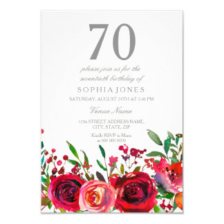 Red Rose 70th Birthday Party Invitation