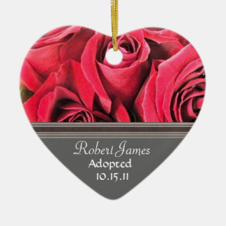 Red Rose Adoption Announcement Ceramic Ornament