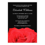 """Red Rose and Black Bridal Shower 5"""" X 7"""" Invitation Card"""