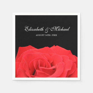 Red Rose and Black Personalized Wedding Napkin