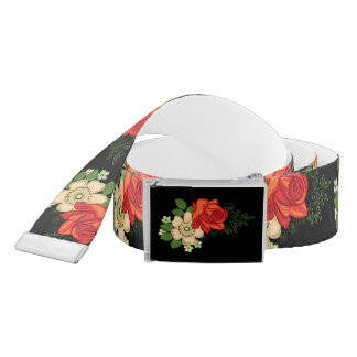 Red Rose and Daisies Black Background Belt