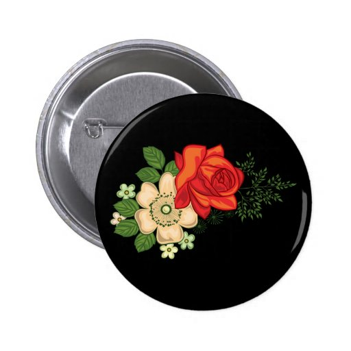 Red Rose and Daisies Black Background Pinback Button