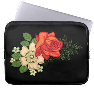Red Rose and Daisies Black Background Laptop Sleeve
