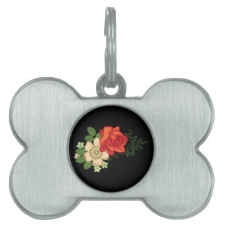 Red Rose and Daisies Black Background Pet Tag