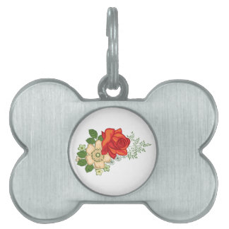 Red Rose and Daisies Pet Tags