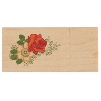 Red Rose and Daisies Wood USB Flash Drive