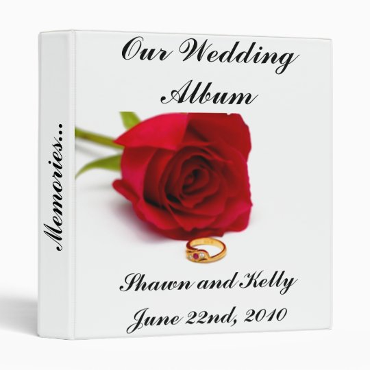 Red Rose and Gold Diamond Ring Binders
