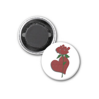 Red Rose and Heart Magnet