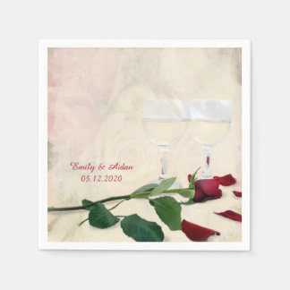 red rose and wine glass paper napkin