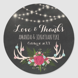 Red Rose Antlers - Rustic Wedding Love & Thanks Classic Round Sticker