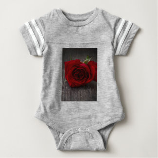 red rose background baby bodysuit