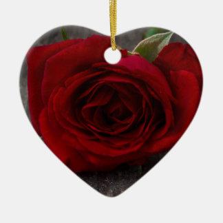 red rose background ceramic ornament