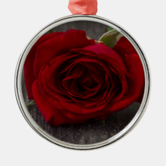 red rose background metal ornament
