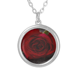 red rose background silver plated necklace