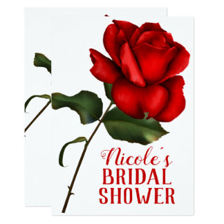 Red Rose Beauty & The Beast Bridal Shower Card