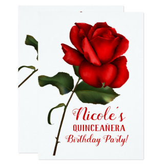 Red Rose Beauty & The Beast Quinceañera Party Card