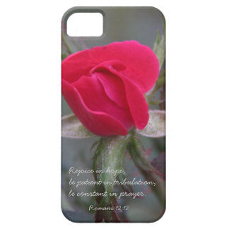 Red Rose, Bible Verse about Hope, Romans 12:12 iPhone 5 Covers