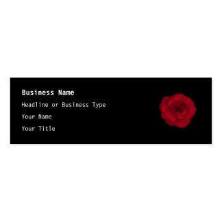 Red Rose. Black Background. Pack Of Skinny Business Cards