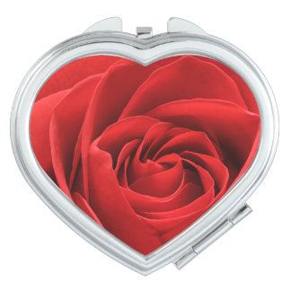 Red Rose Blossom Compact Mirror
