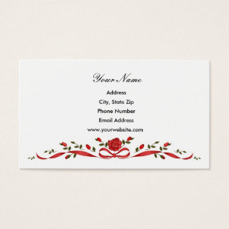 Red Rose Border Business Cards