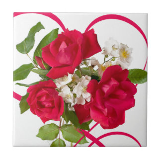 Red Rose Bouquet and Ribbon Tile