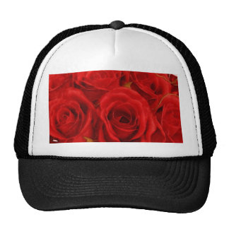 Red Rose Bouquet Mesh Hats