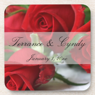 Red Rose Bouquet Personal Set of Cork Coasters