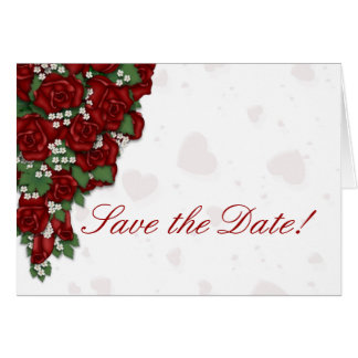 Red Rose Bouquet Save the Date Stationery Note Card