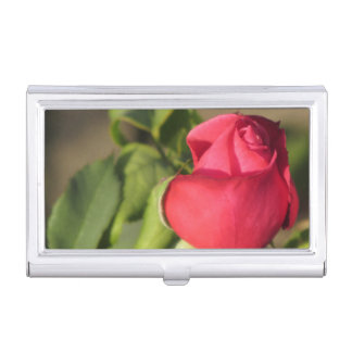Red Rose Bud Business Card Case
