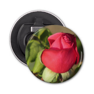 Red Rose Bud Button Bottle Opener